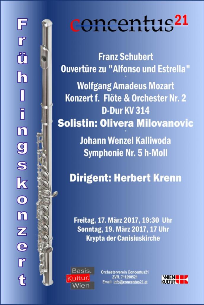 """Konzertplakat """"Mit der Flöte in den Frühling"""""""