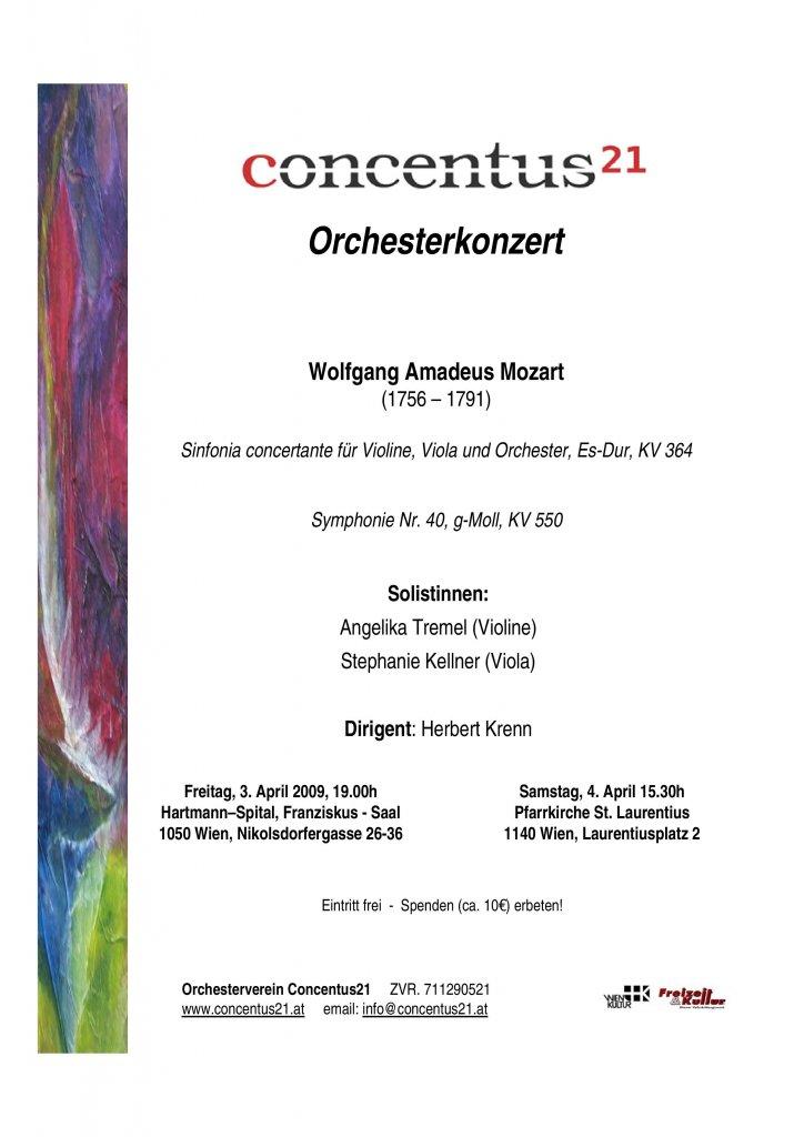 Plakat Mozartkonzert 2009