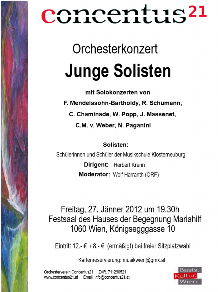 Konzertplakat Junge Solisten