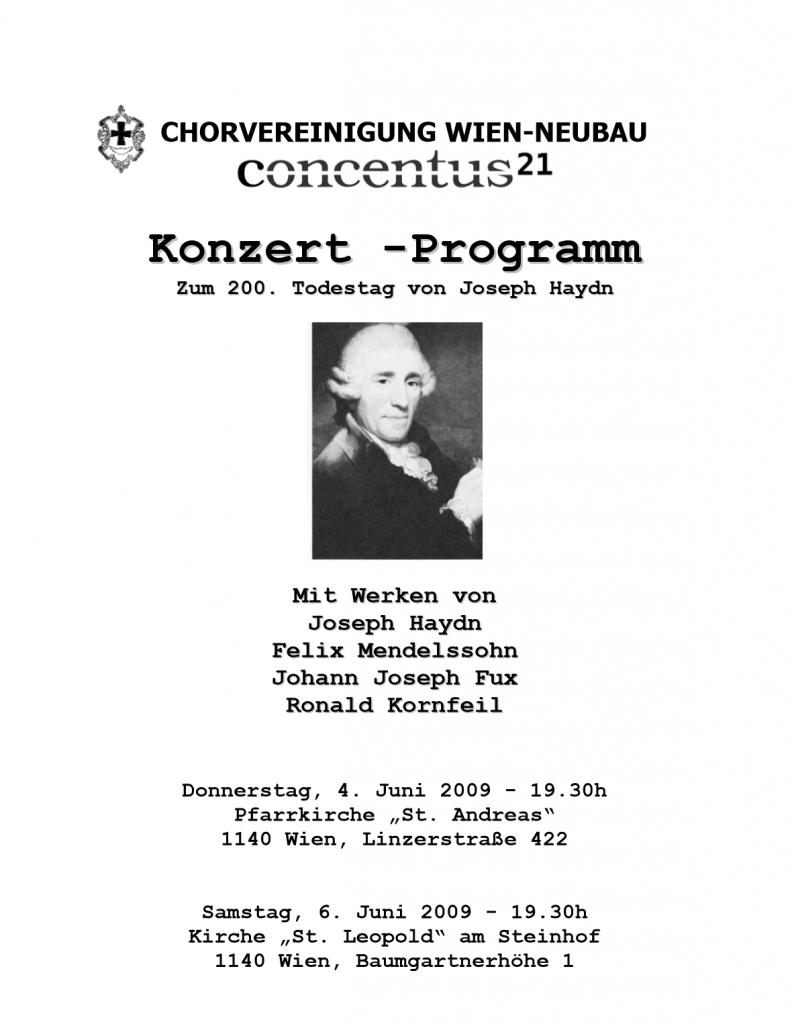 Konzertplakat Haydn 200. Todestag