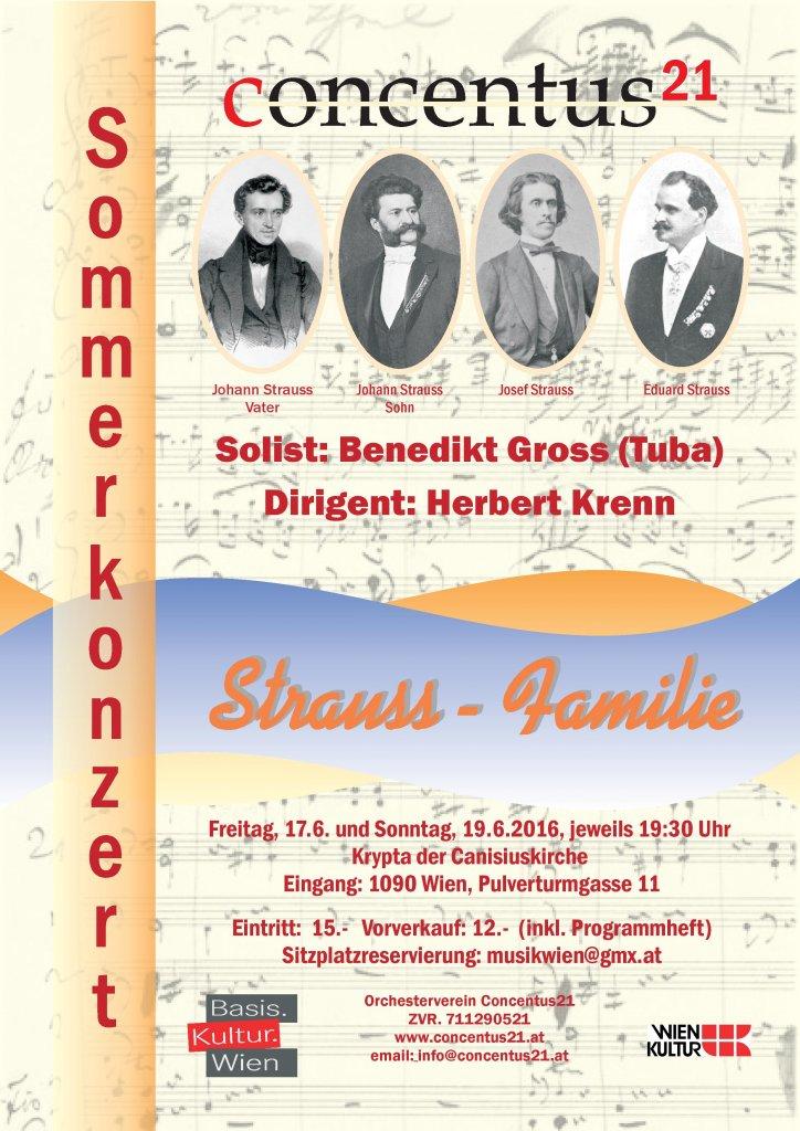 Konzertplakat Musik der Familie Strauss
