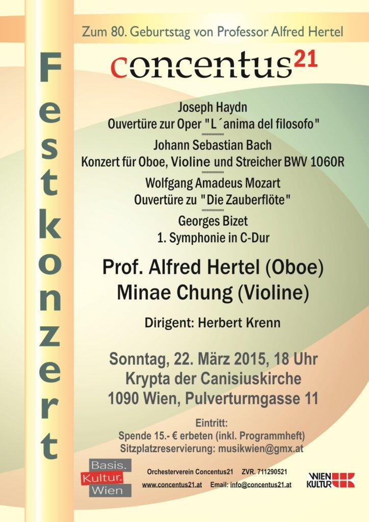 Konzertplakat Festkonzert zum 80. Geburtstag von Prof. Alfred Hertel