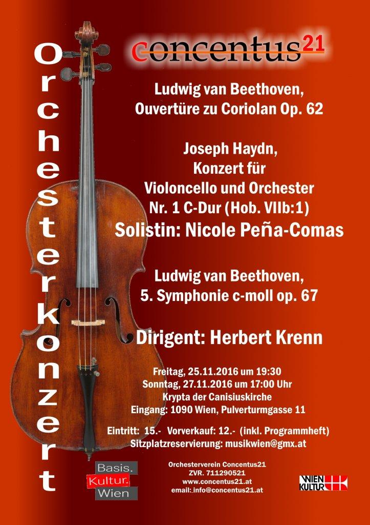Konzertplakat Symphoniekonzert mit Cello