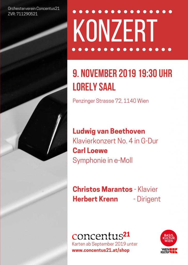 Plakat Herbstkonzert 2019 mit Christos Marantos - Loewe trifft Beethoven