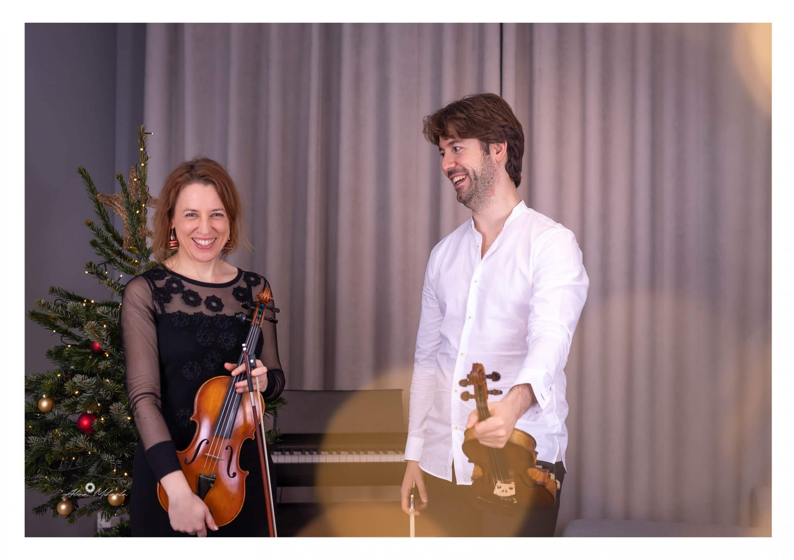 Konzertmeisterin Christine mit ihrem Lehrer Tudor Andrei