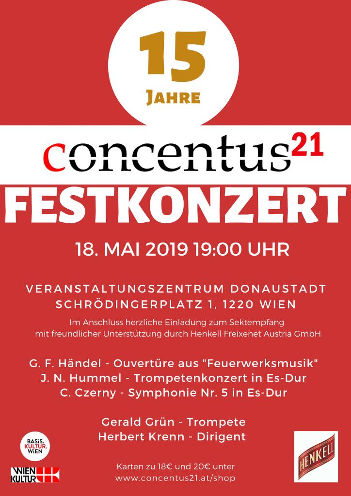 Plakat Jubiläumskonzert 15 Jahre Concentus21